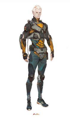 Versomic born Harry Nasda wearing military light armor.