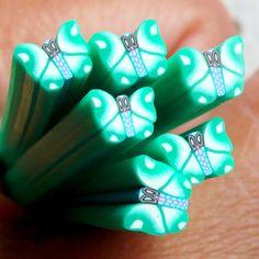 Polymer Clay Sticks - Fimo Cane - Grün Schmetterling - Nail Art CBT14 - ein Designerstück von MiniatureSweet bei DaWanda