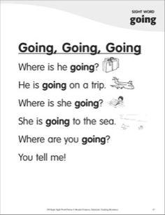 Going, Going, Going (Sight Word 'going'): Super Sight Words Poem