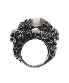 Ugo Cacciatori Pearl Foliage and Skull Ring