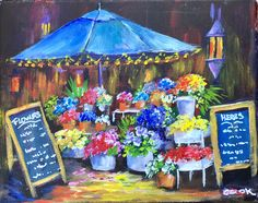 """""""Flower Market"""" a Feb 14 Live YouTube release.  Consider putting a poem on the two signs. 8x10."""