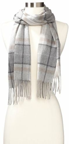 Amicale Women's 100% Cashmere Plaid Scarf, Grey/multi, One Size