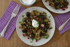 Pomegranate Molasses Brussels Sprouts with Hazelnuts