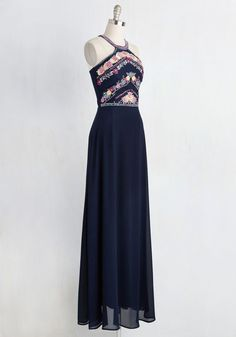 Radiate With Destiny Dress in Navy. Its as if fate brought you together with this dark blue chiffon gown - thats how perfect it feels when you zip into its floral bodice! #blue #modcloth