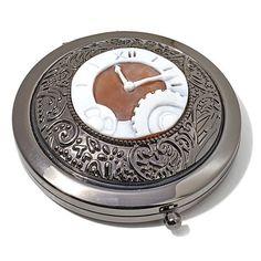 "AMEDEO 35mm ""Clock"" Cameo Hematite-Tone Mirror Compact"