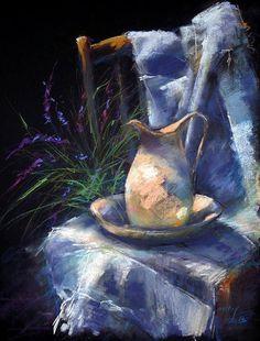"""Still life with lavender"" ""Levendulás csendélet"" By Béla Tarcsay, from Hungary (b. - pastel on paper; Soft Pastel Art, Chalk Pastel Art, Pastel Artwork, Pastel Flowers, Pastel Drawing, Chalk Pastels, Soft Pastels, Still Life Drawing, Painting Still Life"