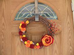 Rustic Fall Wreath -- Autumn Wreath--Thanksgiving Wreath--Fall Door Decor-Fall Decoration-14 inch Grapevine and Felt Flower Wreath on Etsy, $34.00