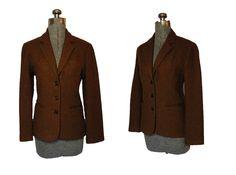 Vintage 1950s Riding Blazer - 50s Brown Wool omen Jacket Small. $65.00, via Etsy.