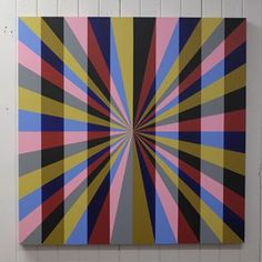 "Escape 1  36"" x 36"" Acrylic on wood panel #bentbars #geometricabstraction #abstractart #contemporaryart #hardedge #opart #opticalillusion #art"