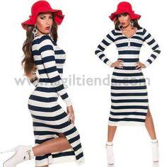 #Original #Jersey #Vestido #diseño #largo de #mangalarga con #brillantes #escote con #cremallera tejido de #punto #elastico #estampado de #rayas con #pedreria #brillante #incrustada y #raja en la pierna para lucir un #look #clasico #divertido #exclusivo #sexy y #sofisticado para este #invierno y #verano. Encuentralo en #Vestidos de #Punto de http://www.agiltienda.com/es/home/2329-vestido-rayas-con-brillante.html #online #shop @agiltienda.es
