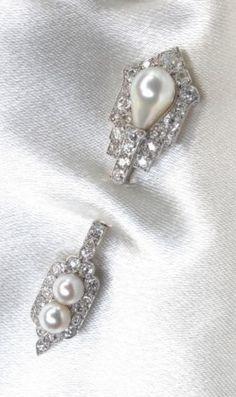 Cartier Natural Pearl and Diamond Jabot Pin