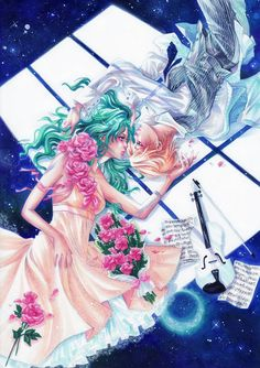 My Lover ~ This is the Window to our World Characters: Haruka Tenoh (天王 はるか) and Michiru Kaioh (海王 . My Lover - Haruka x Michiru Sailor Neptune, Sailor Moon Art, Sailor Moon Crystal, Awesome Anime, Anime Love, Haruka And Michiru, Anime Girls, Anime Manga, Anime Art