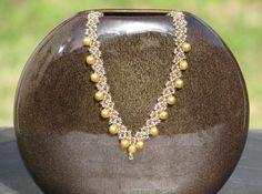 Beadweaving Necklace  Golden Pearl Lace  seed by RedCatArtBeads, $45.00
