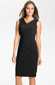 Adrianna Papell V-Neck Shutter Pleat Sheath Dress | Nordstrom