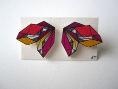 COLOURFUL GEOMETRIC earrings // unique hand-drawn shrink plastic hypoallergenic stud earrings, post earrings, jewelry, jewellery
