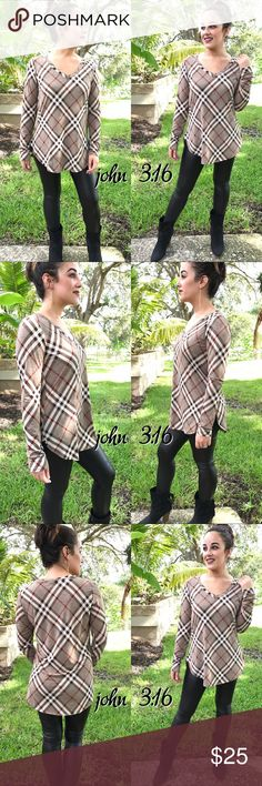 Plaid long sleeve tops Long sleeve plaid tops are the perfect addition to any wardrobe.   ✔️Made in the USA ✔️95% polyester 5% spandex ✔️Small bust 36 ✔️Medium bust 38 ✔️Large bust 40 ✔️Length 27 Modeling her small Boutique Tops