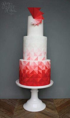 Red ombre triangle cake