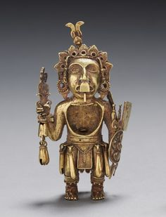 Figure of a Warriorafter Mexico, Tetzcoco?, Aztec, Post-Classic PeriodGold-silver-copper alloy (cast)Overall: x cm Aztec Empire, Statues, Cleveland Museum Of Art, Indigenous Art, Ancient Jewelry, Ancient Artifacts, Ancient Civilizations, Native American Art, Ancient History
