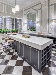 Gray walls white trim black doors kitchen transitional with wood bar stool bianco carrara marble worktop