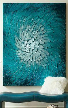 42 Beautiful Wall Decoration Ideas You Will Totally Love - Painting Ideas Art Diy, Diy Wall Art, Wall Decor, Teal Wall Art, Abstract Paintings, Abstract Art, Art Paintings, Abstract Flowers, Bedroom Paintings