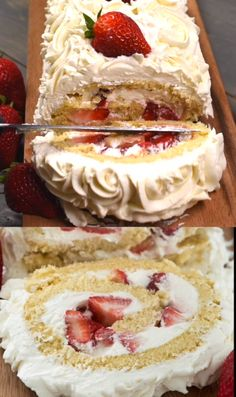 Strawberry Shortcake Cake Roll filled with fresh strawberries and an easy cream cheese whipped cream! Strawberry Shortcake Cake Roll filled with fresh strawberries and an easy cream cheese whipped cream! Easy Desserts, Delicious Desserts, Yummy Food, Summer Desserts, Angel Food Cake Desserts, Light Dessert Recipes, Summer Potluck, Trifle Desserts, Summer Cakes