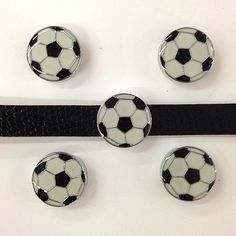 Set of 10 pc soccer  slide charm fits 8mm wristband for by CaSales, $5.50