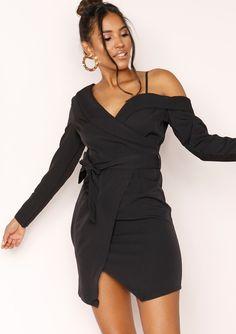74e2b6b7a9 Cora Black Cold Shoulder Wrap Dress. Missyempire ...