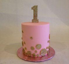 Smash cake | birthday cake | first birthday | pink and gold | 1 | sparkle | glitter | buttercream