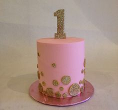 Smash cake   birthday cake   first birthday   pink and gold   1   sparkle   glitter   buttercream