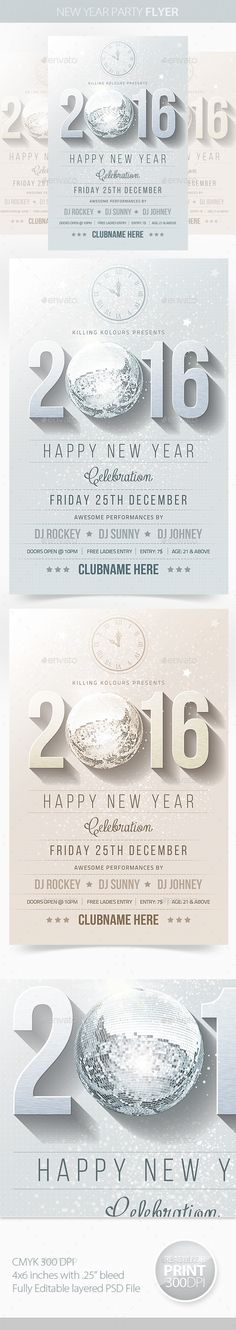 New Year Party Flyer Template PSD #design #nye Download: http://graphicriver.net/item/new-year-party-flyer/9498245?ref=ksioks