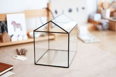 large glass house with a hinged roof - handmade glass terrarium - planter for indoor gardening by boxwoodtree on Etsy https://www.etsy.com/listing/178471053/large-glass-house-with-a-hinged-roof