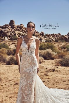 8e28e2639084 Everything about the Calla Blanche Spring 2019 collection is dress goals!  With the desert as a backdrop, couture wedding dresses shine a light on  ornate.