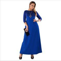 Shiny Plus Size 6XL Long Dress New Patchwork Maxi Dress Large Size Blue  Robe Clothes 2018 9739ddc03b44