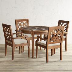 Chiara Round Table 5-Piece Dining Set Brown