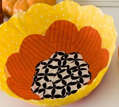 Candy Corn Bowl with fabric and Mod Podge Stiffy