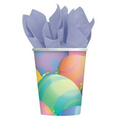 Pack of 8 Peek-a-Boo Bunny Cups 266ml. Easter Party ideas, tableware & decorations for spring, bunny & chick themed Easter party