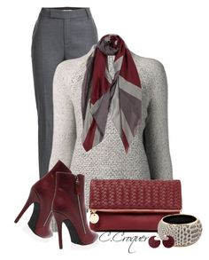 """""""Burgundy Fold-Over Clutch"""" by ccroquer ❤ liked on Polyvore featuring Marc by Marc Jacobs, Vince, Deux Lux and Marni"""