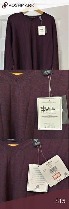 BRANDINI Merino Wool Sweater made in Italy New with tags Color is 🍷 Vino/Wine brandini Sweaters V-Neck