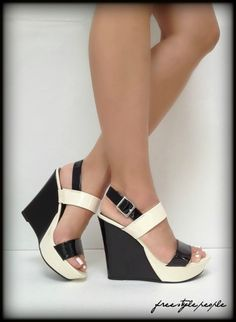 New G BY GUESS Black Ivory TIGERIA Patent Platform Wedge Sandals Shoes | eBay