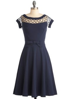 With Only a Wink Dress in Navy by Bettie Page - Long, Party, Pinup, Vintage Inspired, 50s, 60s, Blue, Solid, Bows, Woven, Wedding, A-line, Short Sleeves, Fit & Flare, Top Rated