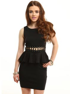 """https://www.cityblis.com/7022/item/5654  Laced Peplum Dress - $45 by Living Royal  This laced peplum dress is a great black dress to have. The cross weaves gives to some fun skin showing highlights.   *86% polyester, 12% rayon, 2% spandex *Made in USA *Model wearing small MODEL INFO  Bella is a US size 2 Height: 5' 5"""" Bust:32"""" / Waist: 26"""" / Hips: 34"""""""