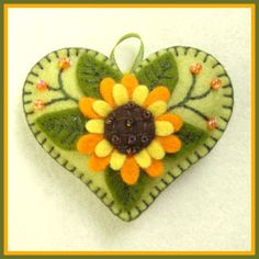 sunflower motif wool felt heart