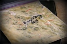 Broccoli Cheese Soup - This recipe is great for a FREEZER MEAL! Sub out chicken stock for veggie.