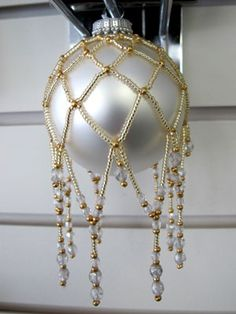 Free Beaded Netting Holiday Ornament Cover Pattern