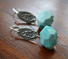 Amazonit Sterling Silber Ohrringe mit Handwerker von LaLoreley