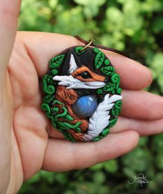 Labradorite fox pendant  necklace  polymer clay by GloriosaArt