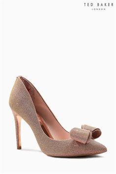 1cf87b1fce5 Ted Baker Rose Gold Azelline Lurex Bow Court Shoe