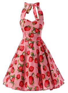 The dress is featuring strawberry print, halter design, sleeveless style and on…