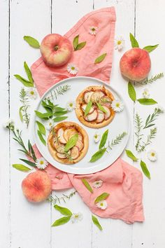 Flat lay Food Photograph ideas | Flatlay food photo styling inspiration | Flambéed Peach Tartlets)