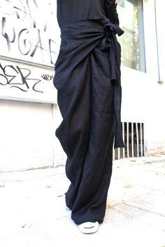 c8c7c8ea0621 image 0 Moda Da Donna, Cinema, Pantaloni Incartati, Pantaloni Di Lino Neri,